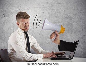 teia, conceito, anunciando, spam