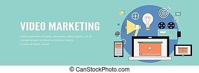 teia, conceito, móvel, marketing, laptop, vídeo, bandeira, devices.