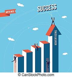 teia, conceito, negócio, sucesso, equipe comercializando
