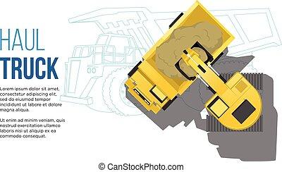 teia, conceito, transporte, escavador, topo, alar, ilustração, engenharia, carregando, caminhão, desenhos, industrial, aéreo, linha, apresentação, melhor, vista