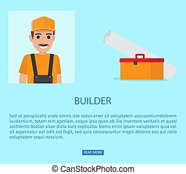teia, construtor, profissão, gorda, vetorial, bandeira