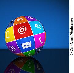 teia, contactar-nos, ícones, globo