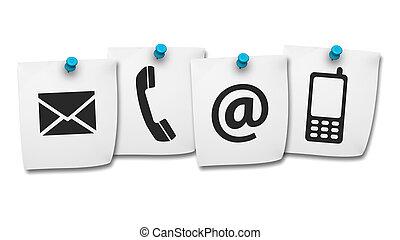 teia, contactar-nos, ícones, ligado, poste