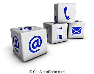 teia, contactar-nos, azul, ícones, cubos