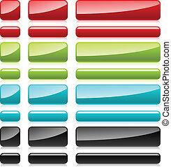 teia, cor, plástico, botões, retangular, design.
