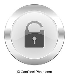 teia, cromo, isolado, ícone, padlock