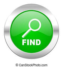 teia, cromo, isolado, achar, ícone, círculo, verde