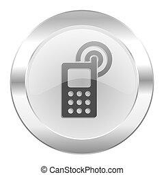 teia, cromo, isolado, telefone ícone