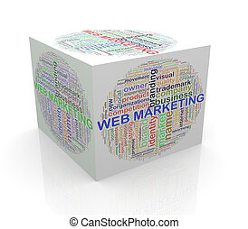 teia, cubo, palavra, etiquetas, marketing, wordcloud, 3d