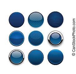 teia, dark-blue, modernos, buttons., redondo, high-detailed