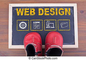 teia, design., criança, sapatos, ligado, chalkboard, e, madeira, fundo
