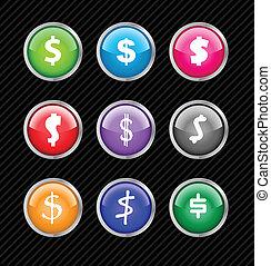 teia, diferente, jogo, dólar, color., variações, editar, ou, botões, vetorial, 2.0, aqua, fácil, sinal, style., qualquer, tamanho