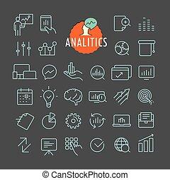 teia, diferente, jogo, esboço, analitics, móvel, collection., app, ícones, escuro, vetorial, fundo