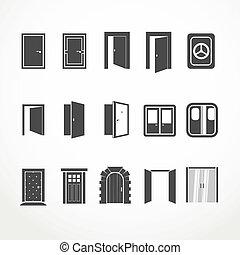 teia, diferente, portas, cobrança, ícones