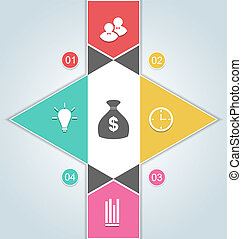teia, elementos, bandeira, negócio, opções, modernos, -, cima, ilustração, opções, passo, vetorial, modelo, infographics, desenho