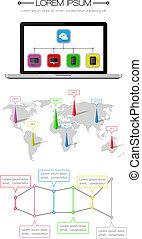 teia, elementos, ui, infographics