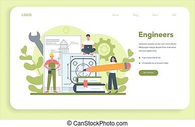teia, engenharia, page., aterragem, bandeira, ou, tecnologia, science.