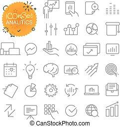 teia, esboço, ícones, simples, collection., app, analitics, móvel, set.