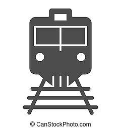 teia, estilo, 10., sólido, trem, isolado, ilustração, eps, app., vetorial, ferrovia, projetado, icon., estrada ferro, glyph, desenho, locomotiva, white.