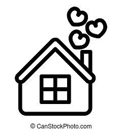 teia, estilo, amor, 10., casa, projetado, isolado, ilustração, eps, app., vetorial, white., icon., corações, lar, linha, desenho, esboço