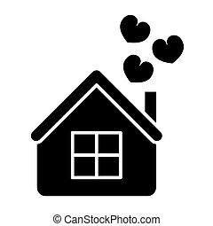 teia, estilo, amor, 10., sólido, casa, isolado, ilustração, eps, app., vetorial, projetado, white., corações, lar, icon., desenho, glyph