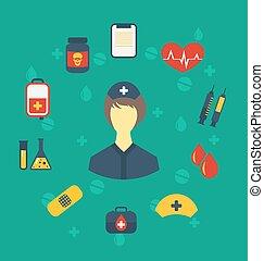 teia, estilo, apartamento, médico, modernos, ícones, enfermeira, desenho