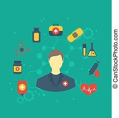 teia, estilo, doutor, médico, modernos, apartamento, ícones, desenho