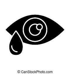 teia, estilo, olho, app., sólido, gota, isolado, ilustração, eps, lágrima, vetorial, projetado, 10., icon., glyph, desenho, white.