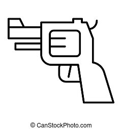teia, estilo, pistola, 10., esboço, arma, ilustração, isolado, app., white., projetado, icon., linha, eps, handgun, desenho, magra