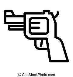 teia, estilo, pistola, 10., esboço, isolado, ilustração, arma, app., white., icon., linha, eps, handgun, desenho, projetado