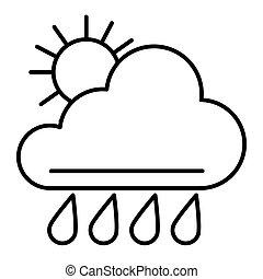 teia, estilo, vetorial, 10., esboço, sol, meteorologia, isolado, ilustração, eps, app., white., tempo, projetado, icon., chuva, linha, desenho, magra