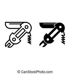 teia, estilo, white., 10., projetado, universal, esboço, isolado, multifunction, eps, bolso, app., vetorial, ilustração, icon., linha, desenho, faca, glyph