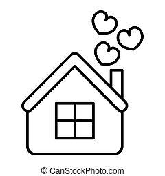 teia, estilo, white., amor, 10., magra, casa, isolado, ilustração, eps, app., vetorial, projetado, icon., corações, lar, linha, desenho, esboço