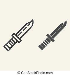 teia, estilo, white., punhal, esboço, exército, isolado, ilustração, eps, app., vetorial, projetado, icon., militar, 10., linha, desenho, faca, glyph