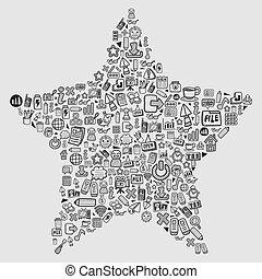 teia, -, estrela, doodle, padrão