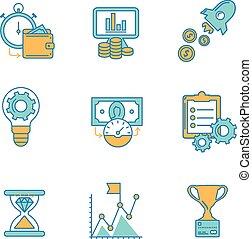 teia, gerência, ícones escritório, marketing, items., apartamento, negócio, desenho, analytics, comércio eletrônico, objetos, ou