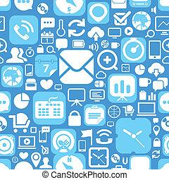 teia, gráfico, ícones, seamless, fundo, interface