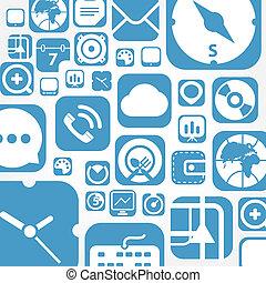 teia, gráfico, ícones, voando, fundo, interface