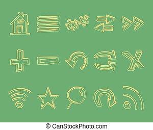 teia, incomum, elementos, ícones, vindima, set., esboço, isolado, mão, doodle, experiência., retro, verde, setas, internet, desenhado, browser, style., logotipo, design.
