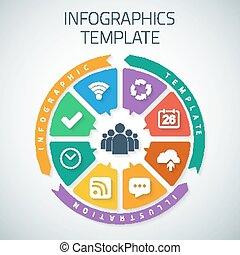 teia, infographic, timeline, torta, modelo, esquema, com, vetorial, ícones,