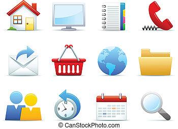 teia, interface, ícones, jogo
