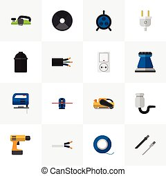 teia, jig, jogo, ser, instrumentos, 16, editable, usado, inclui, símbolos, lata, saída, infographic, ui, icons., móvel, tal, fio, serra, more., design.