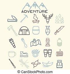 teia, jogo, ícones, apartamento, desenho, aventura