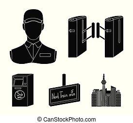 teia, jogo, ícones, collection., mecanismo, style., passagem, outro, pretas, público, transporte, ícone