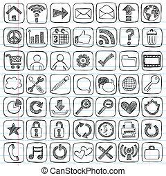 teia, jogo, ícones, doodle, sketchy, sinais