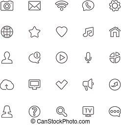 teia, jogo, ícones, linhas, -, contato, magra, comunicação