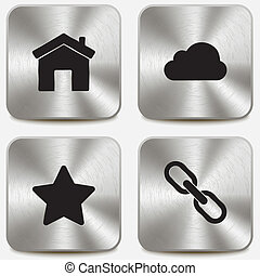 teia, jogo, ícones, metálico, botões, vol2