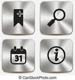 teia, jogo, ícones, metálico, botões, vol3