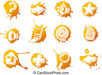 teia, jogo, ícones