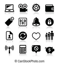 teia, jogo, ícones, -, vetorial, internet